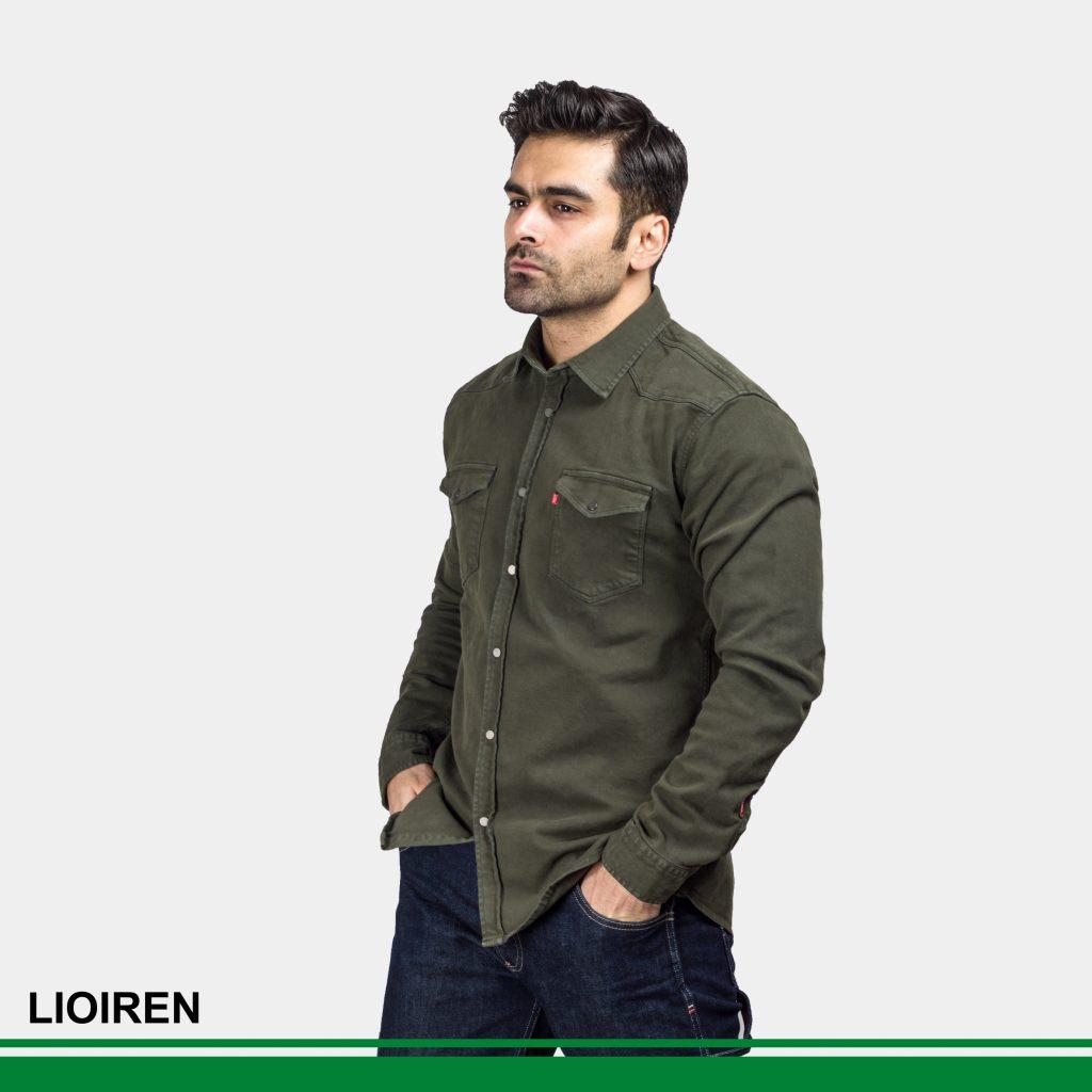 پیراهن لیو کتان سبز ارتشی